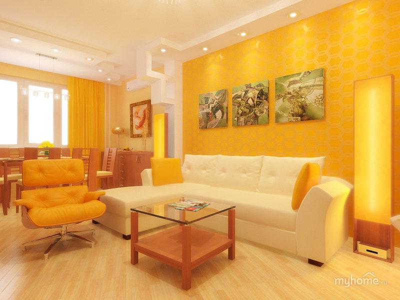 Дизайн гостиной в жёлтом цвете