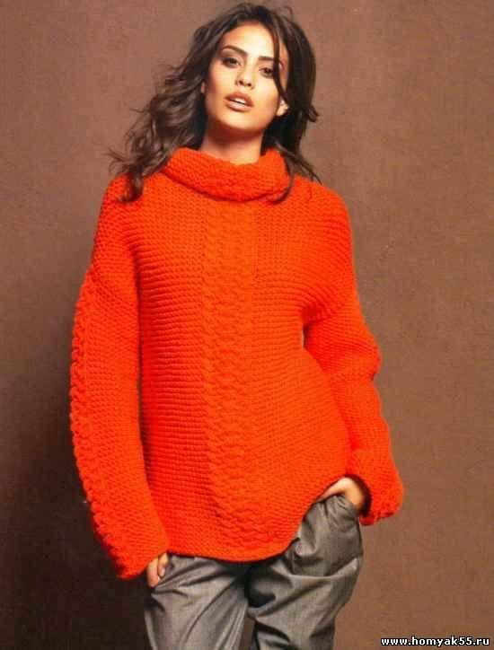 Вязание спицами пуловер с воротником 137