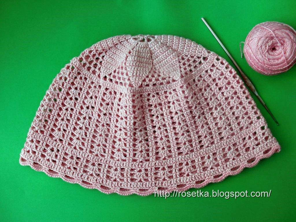 Вязание крючком летняя шапочка для девочки 2 года 11