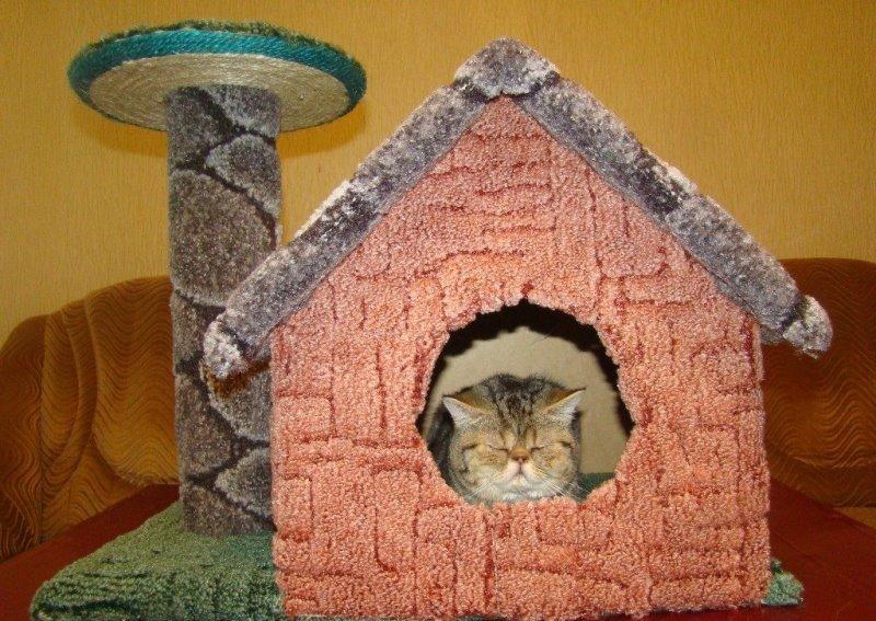 Как сделать кошачий домик в домашних условиях 992