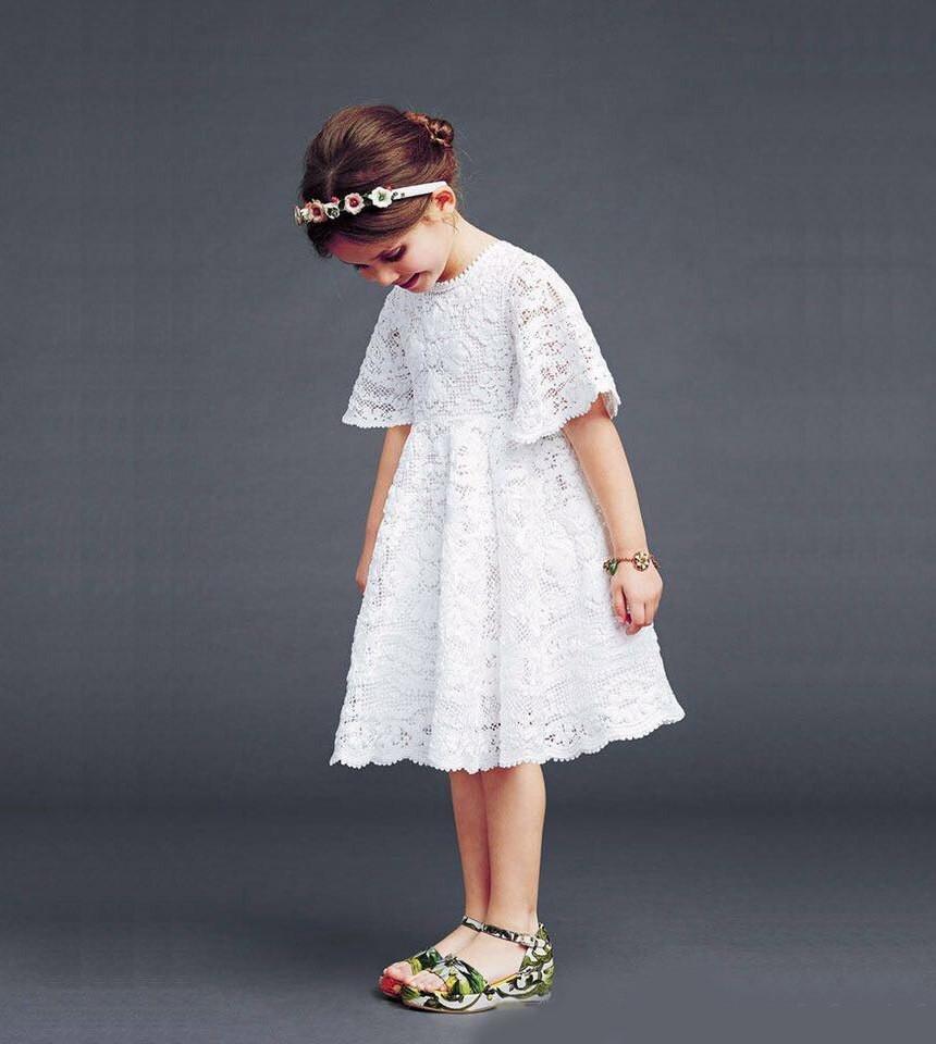 Ажурное платье для девочки: детское, из гипюра, с кружевом 45