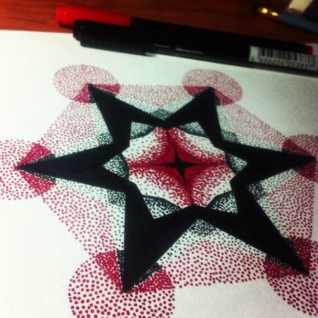 Черно красная мандала