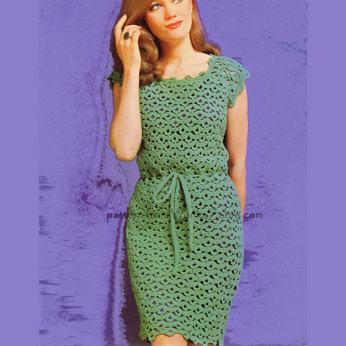 Вязание крючком зелёное платье 299