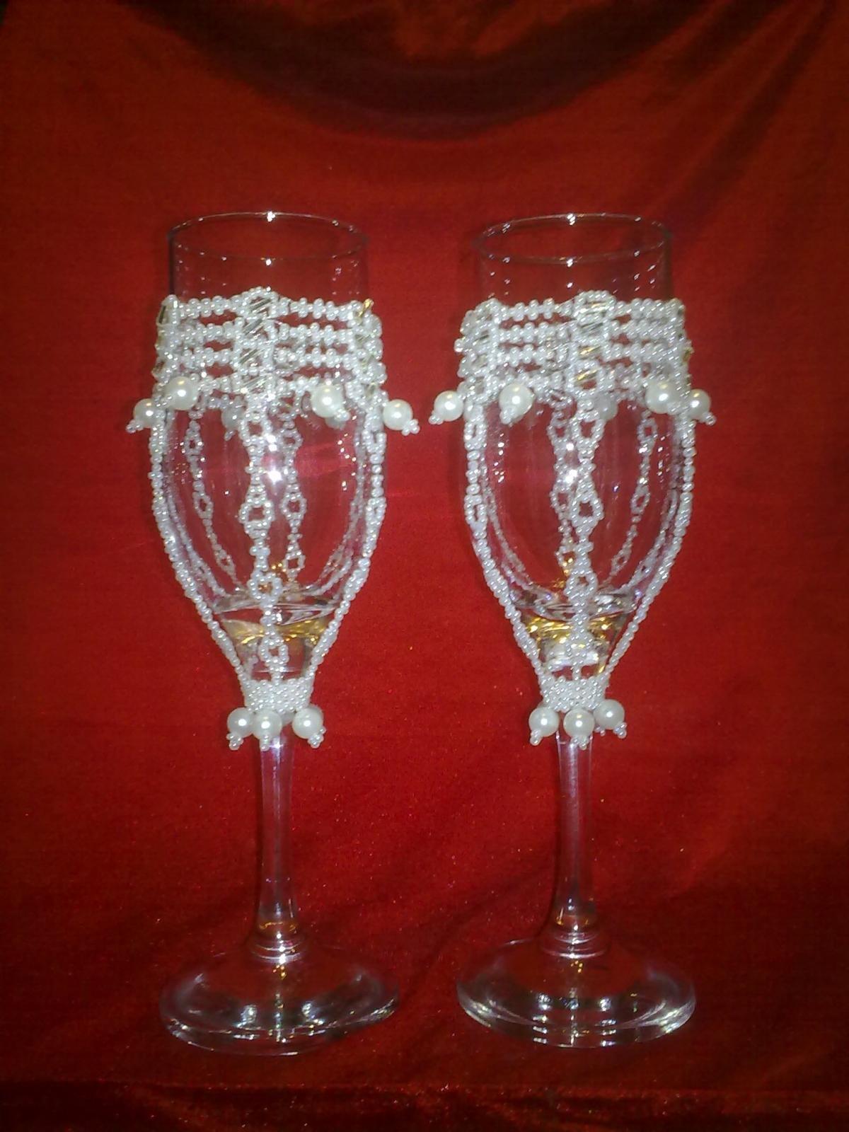 Свадебные бокалы своими руками с бисером