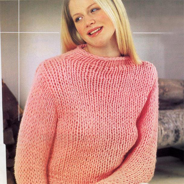 Вязание спицами крупной вязкой свитера для женщин 24