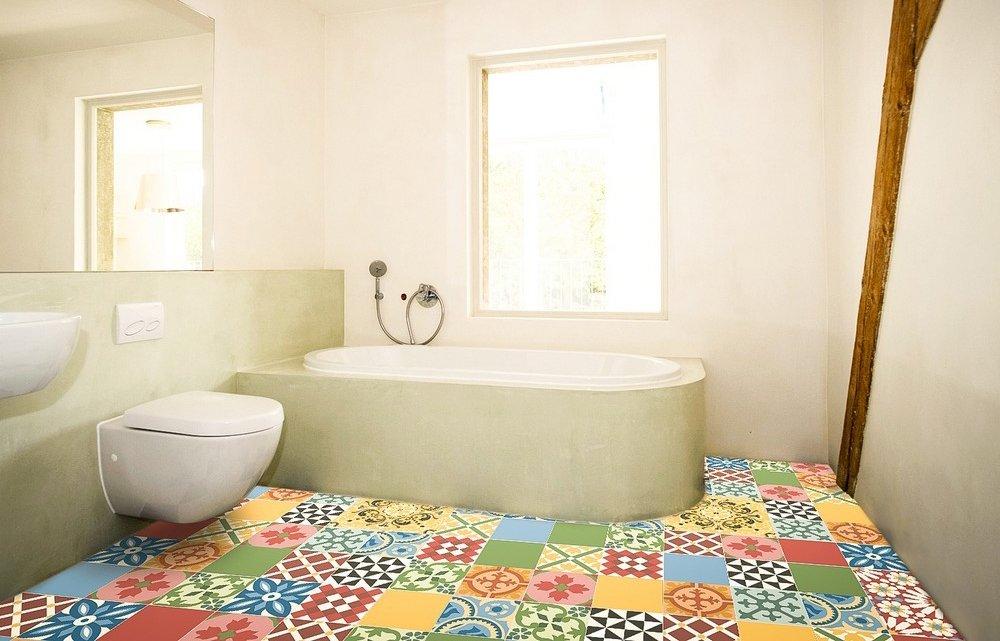 Полы пэчворк в ванной