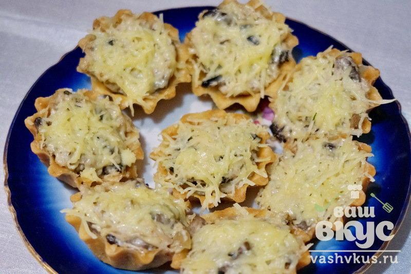 Жульен в тарталетках с грибами и курицей пошаговый рецепт с в