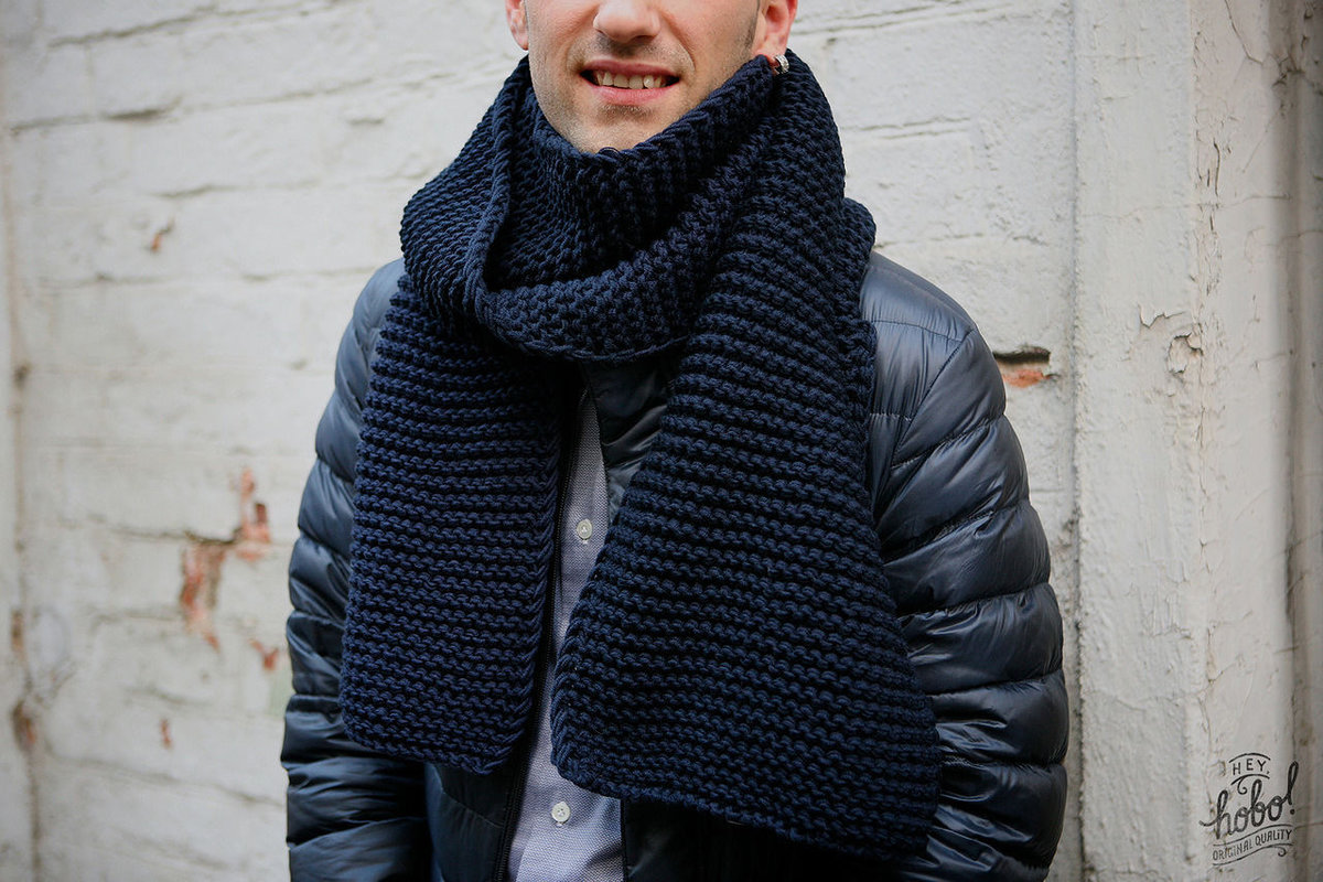 Вязание мужского шарфа спицами фото