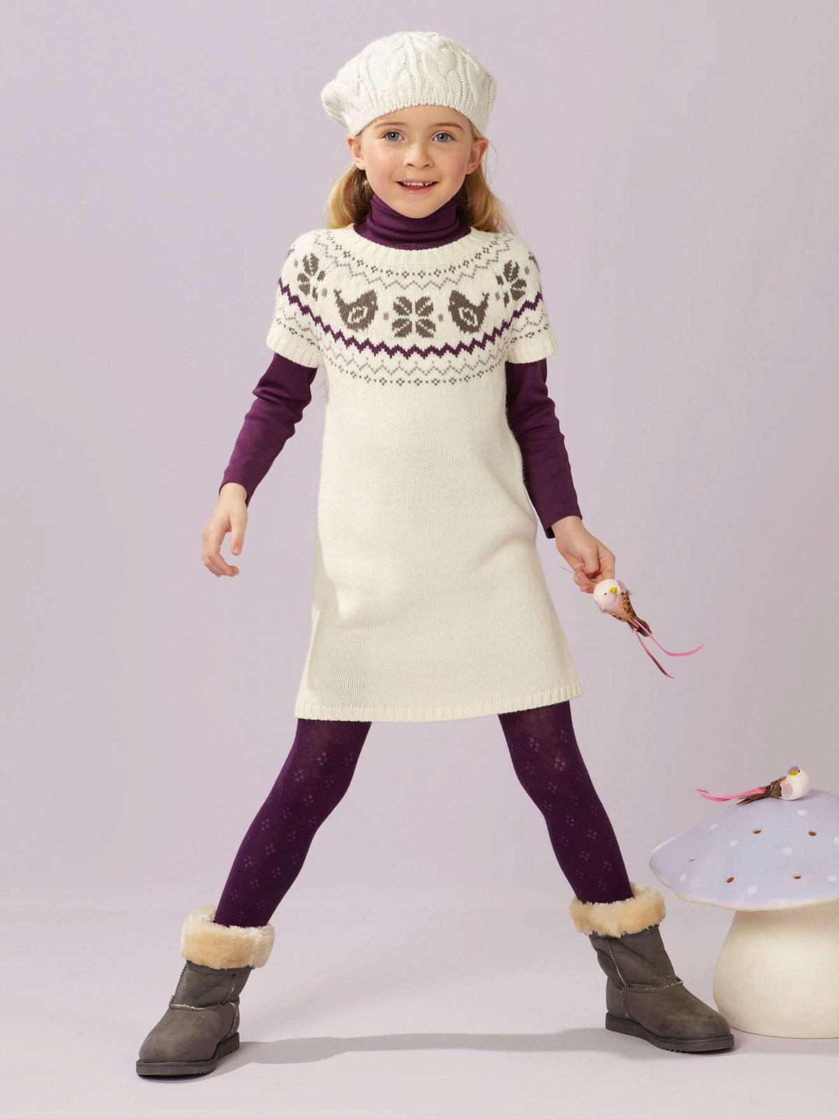 Связать платье для девочки зимнее