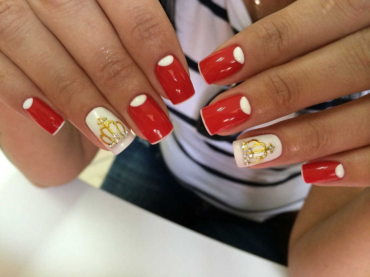 Гель лак дизайн ногтей красный с белым