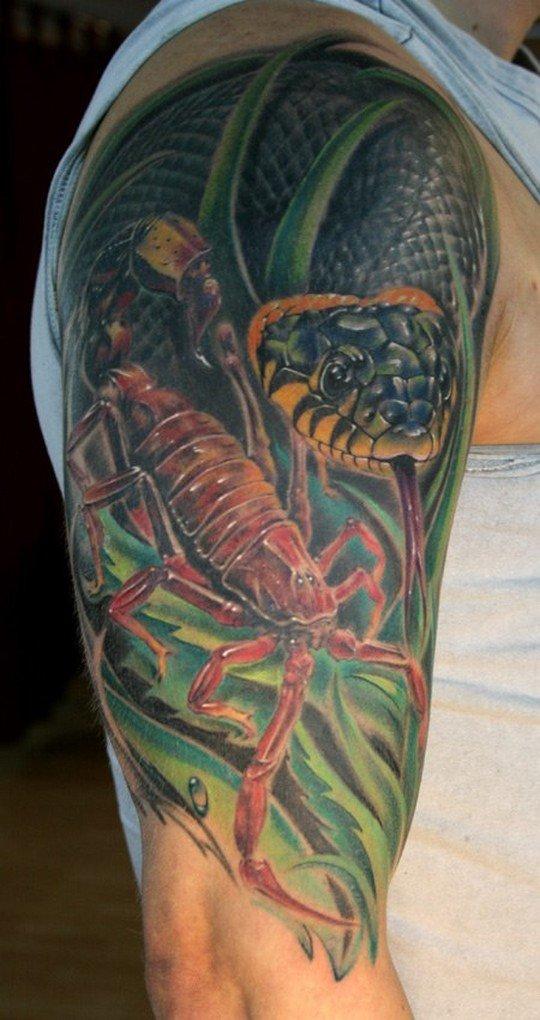 Скорпион со змеёй тату