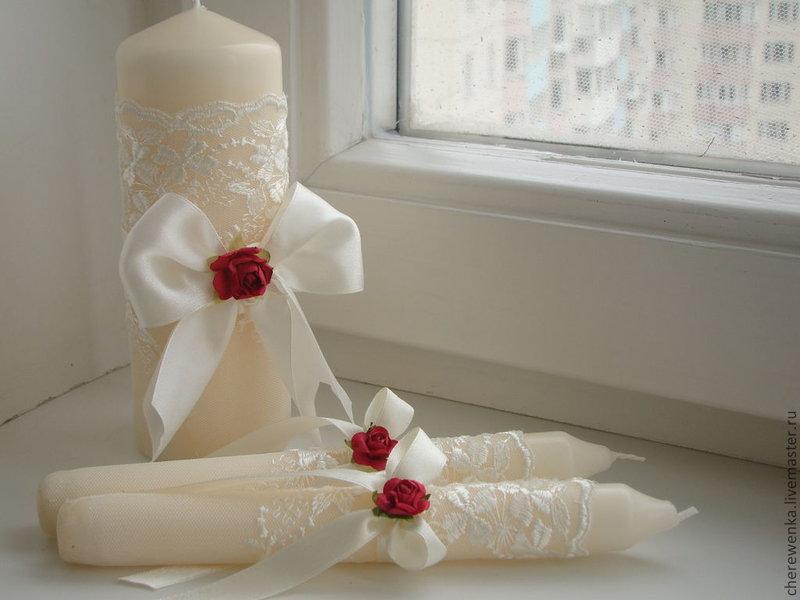 Украшения свадебных свечей красным цветком - карточка от пользователя cone4ko2006 в Яндекс.Коллекциях