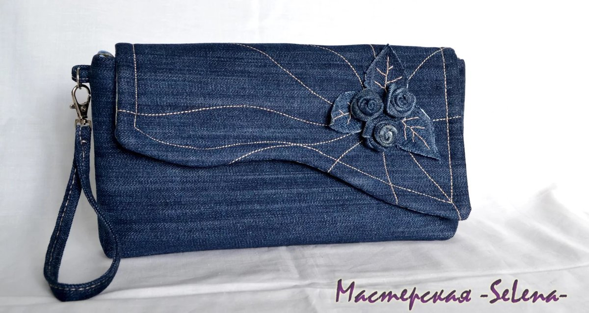 Как сделать клатч из старых джинсов своими руками 14
