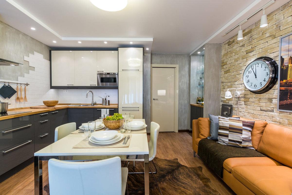 Фото дизайна интерьера кухни 11 кв.м