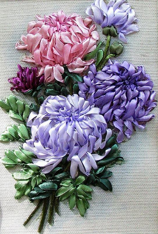 Цветы (вышивка лентами) МАCTЕР скаЯ