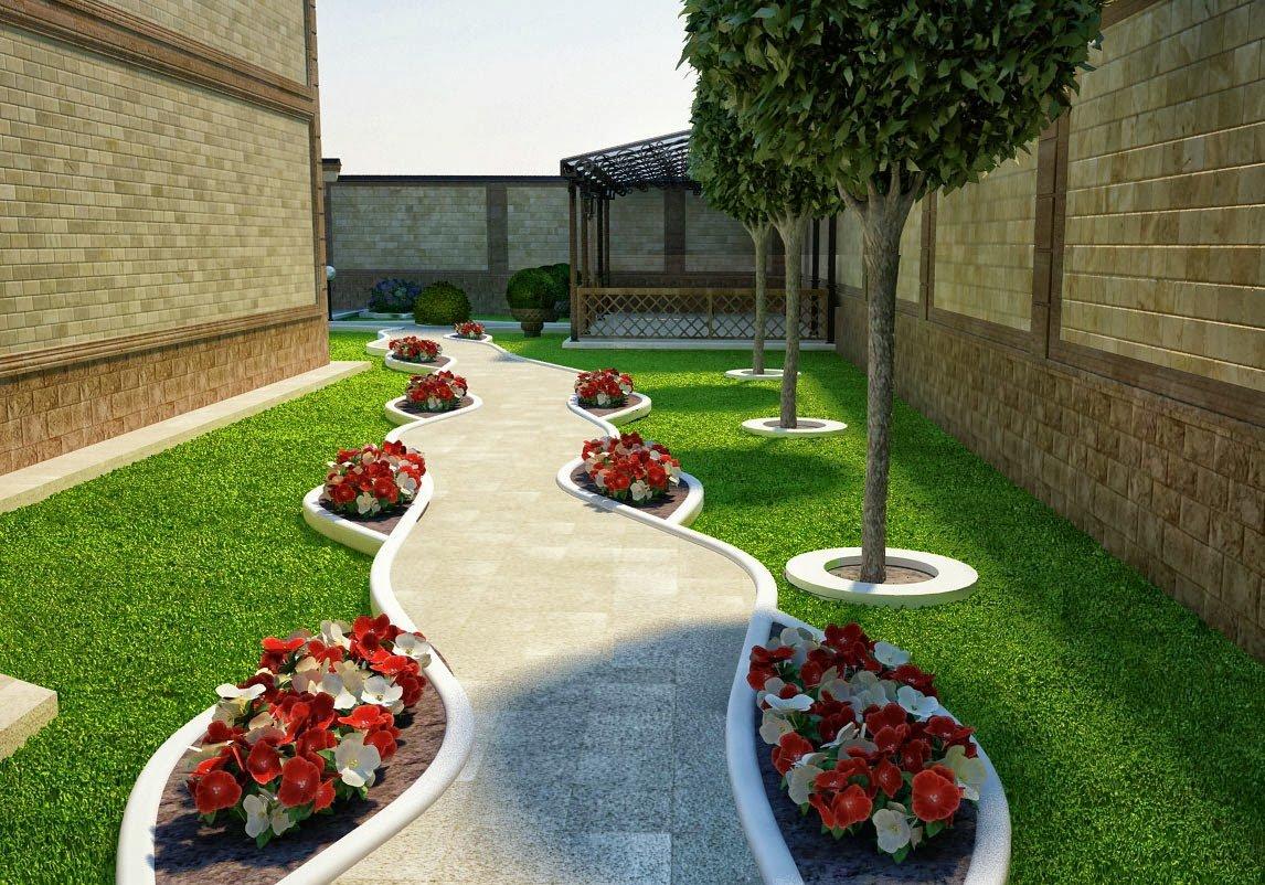 Дизайн клумб частного дома современных дворов