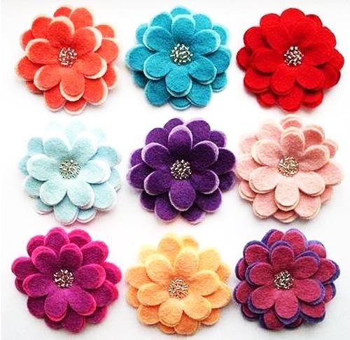Цветы из фетра для поделок и украшений. Делаем