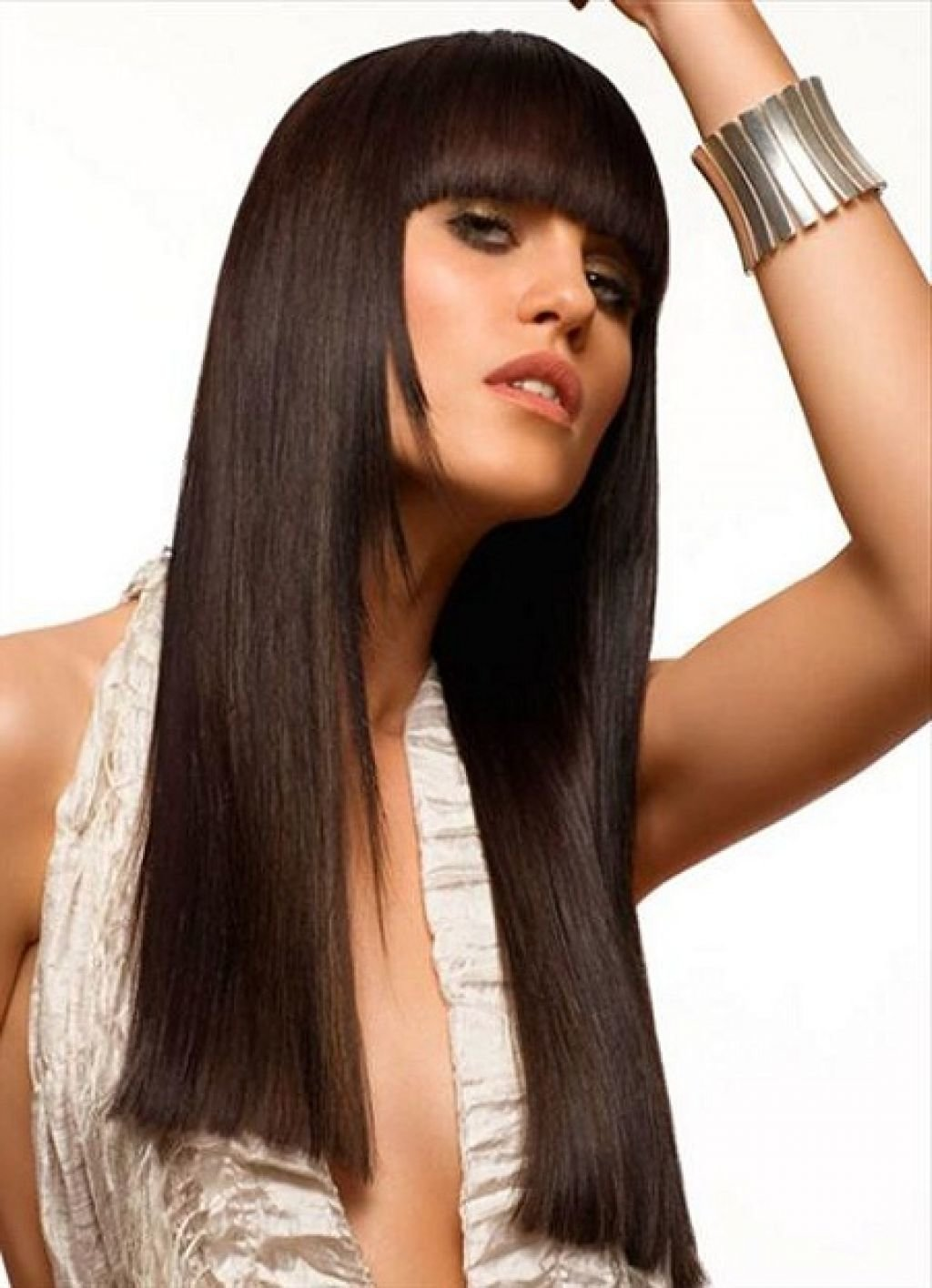 Стрижки для длинных темных волос с челкой