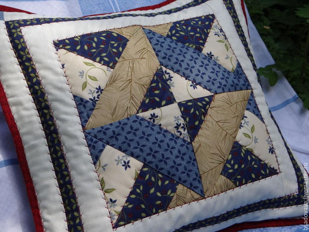 Лоскутное шитьё подушки (фото) Блок Звезда (мастер -класс)
