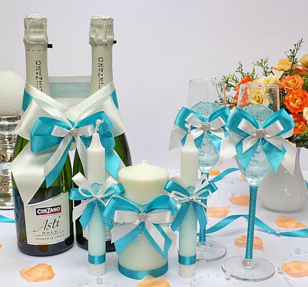 Свечи на свадьбу своими руками бирюзовые 4