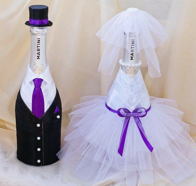 Как украсить бутылку шампанского на свадьбу своими лентами