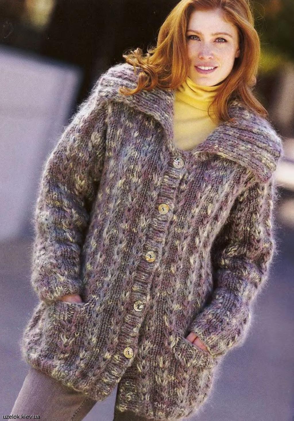 Вязание женских теплых кофт спицами 68