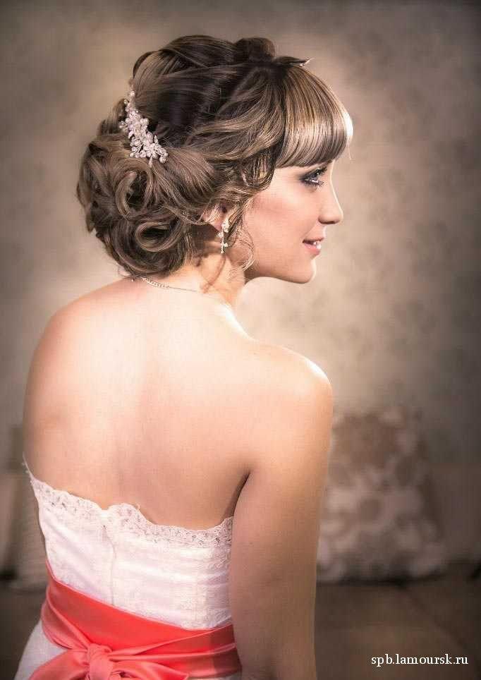 Фото свадебные прически на средние волосы без фаты