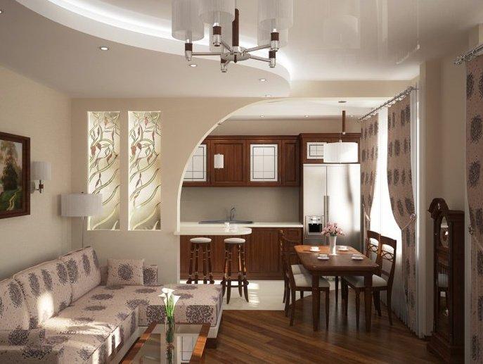 Дизайн совмещенного зала с кухней в частном доме