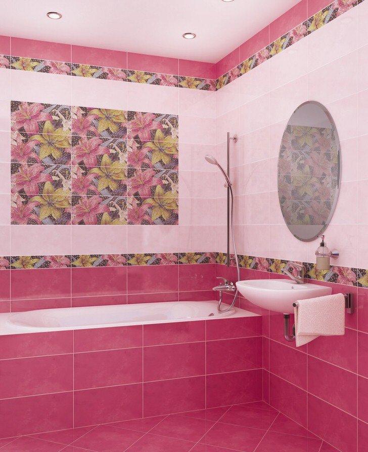 Фото керамической плитки для ванной цветы