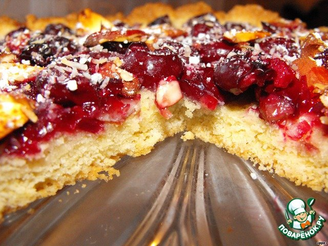 Пирог с замороженной вишней рецепт с фото пошагово