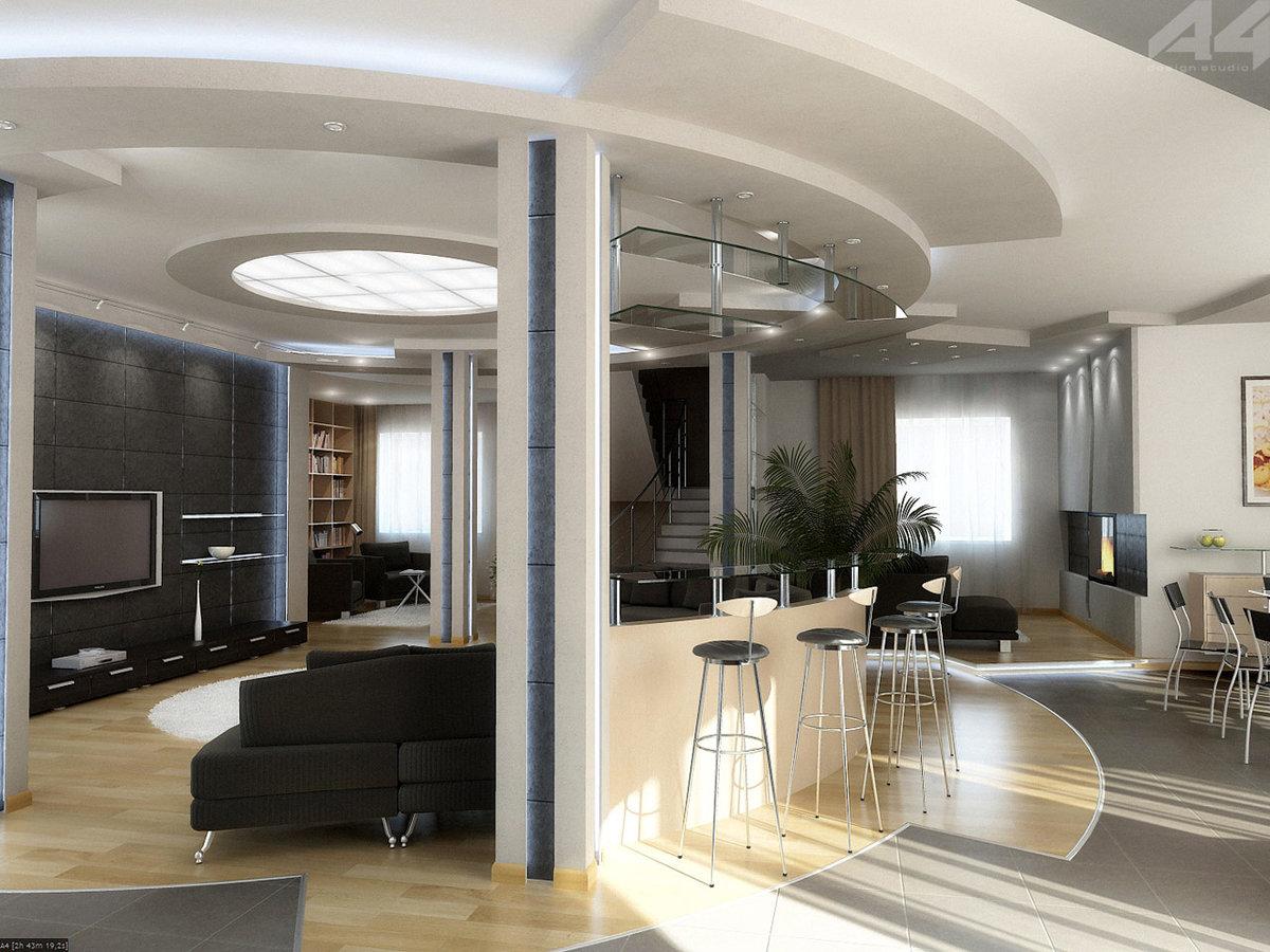 Дизайн гостинойгалерея интерьера на потолке лага