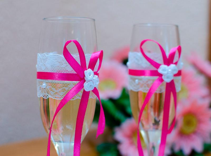 Как украсить фужеры на свадьбу своими руками пошагово