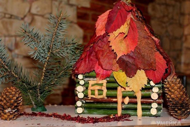 Поделки из шишек и листьев на тему осень