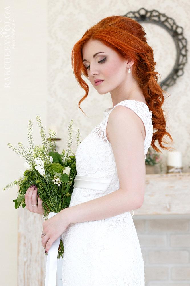 Фото свадебных причесок на рыжие волосы