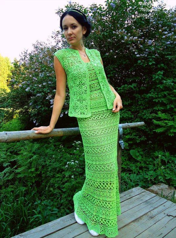 Вязание крючком зелёное платье 177