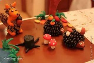 Поделки на тему осень в садик из шишек и пластилина 93