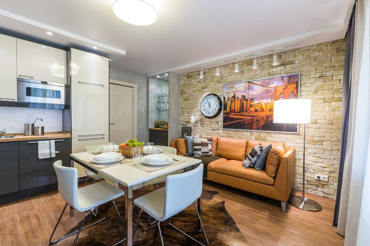 Дизайн кухни гостиной 23 квм с зонированием
