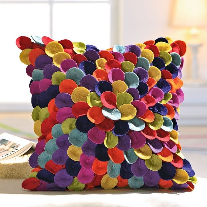 Декор подушек цветами своими руками 83
