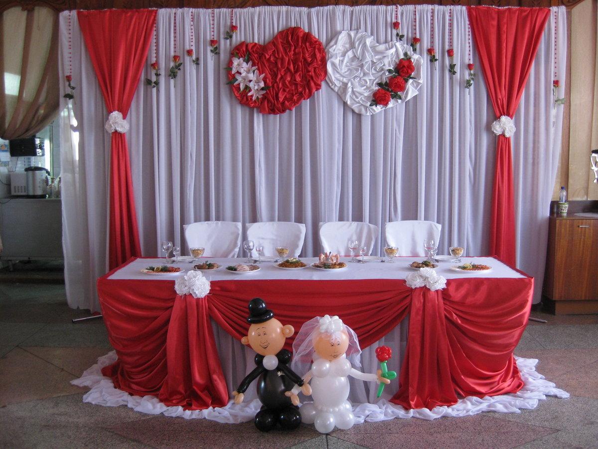 Украшение зала для свадьбы в красном цвете