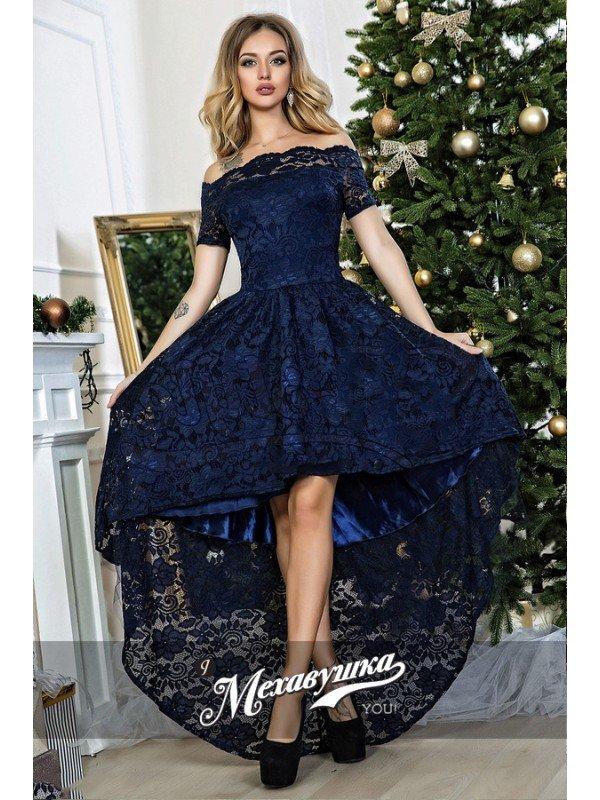 Фото темно синего платья из гипюра