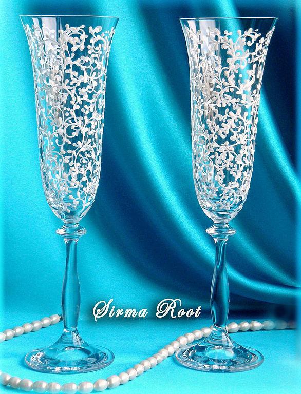 Чем расписать бокалы на свадьбу своими руками 571