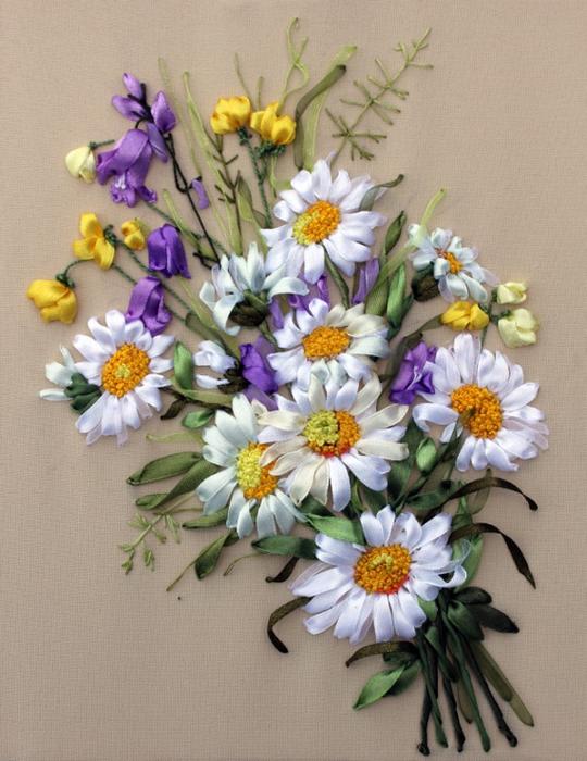 Вышивка лентами полевых цветов своими руками мастер класс