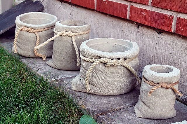 Как сделать вазон из бетона и тряпки