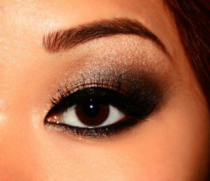 Вечерний макияж для карих глаз с нависшим