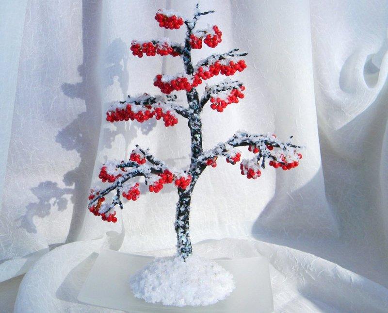 Зимнее дерево из бисера как сделать