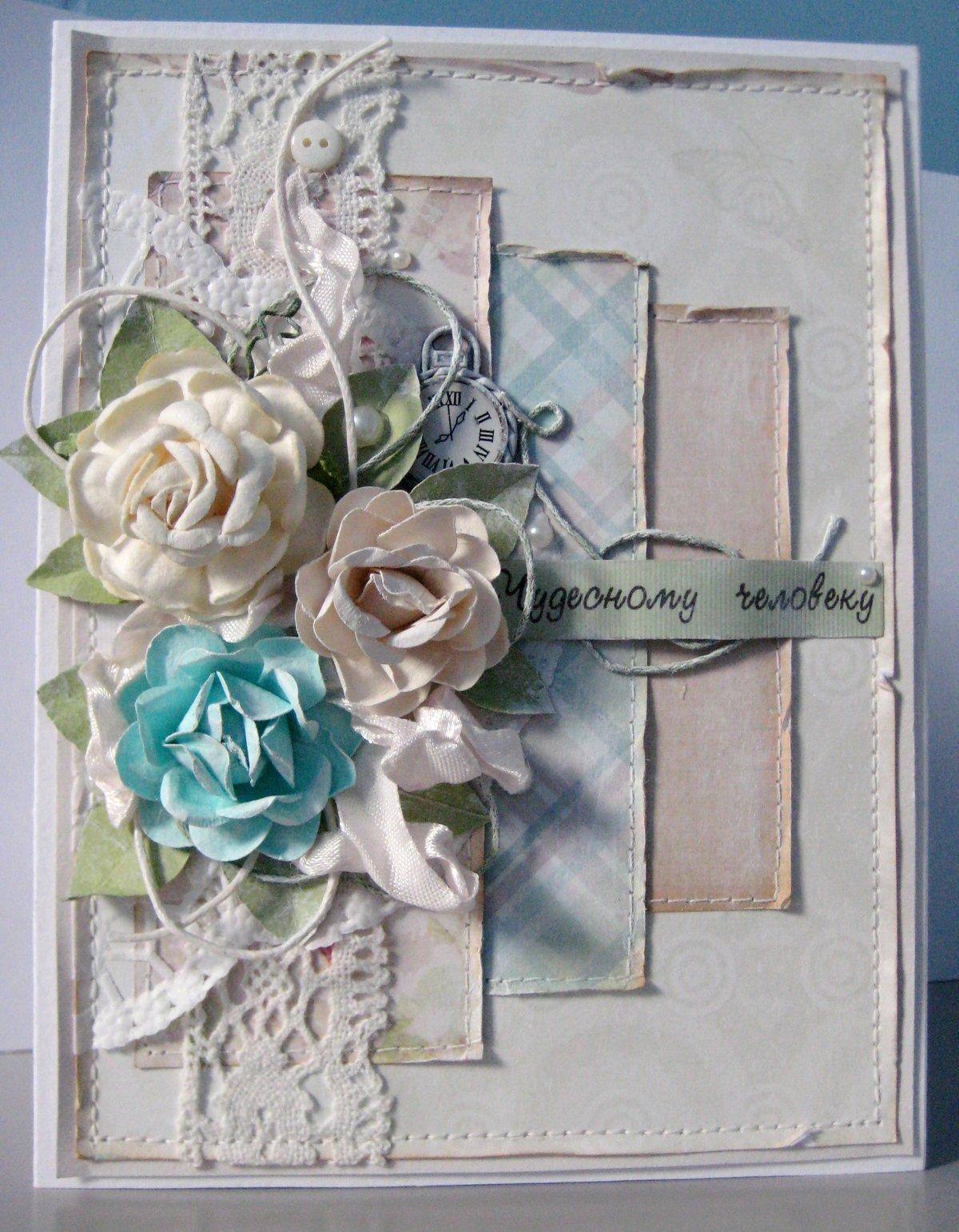 Свадебная открытка своими руками в стиле шебби-шик 78