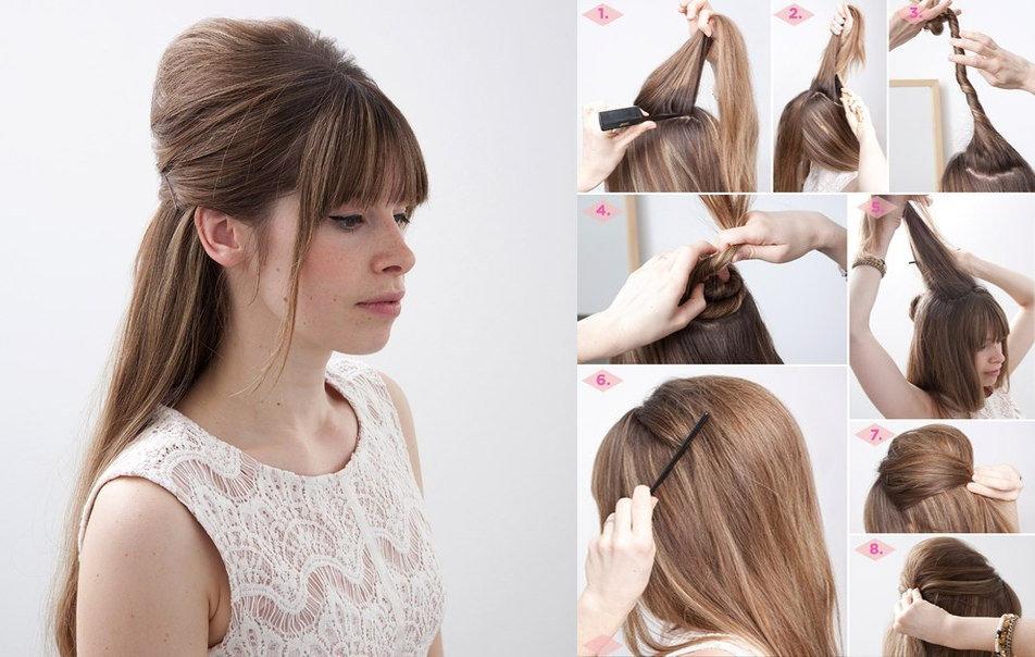 Причёски на длинные волосы с начесом в домашних условиях своими руками 40