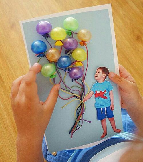 Открытка своими руками с днём рождения с шариками 10