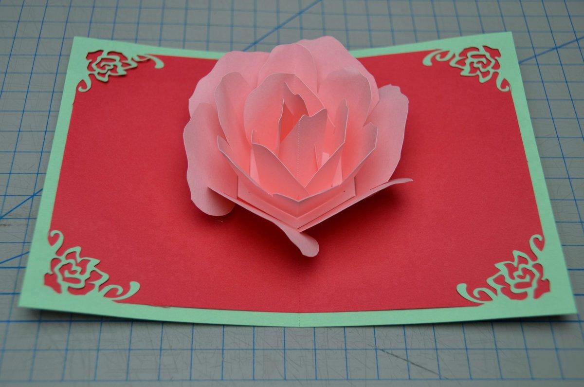 Открытка на день рождения с розами своими руками