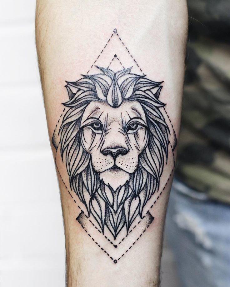 Эскиз льва для тату на предплечье